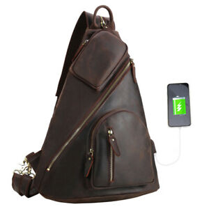 Herren Leder Rucksack Brusttasche Die Brust-Pakete Umhängetasche Backpack