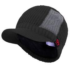 Men's Winter Two Tone Knit Visor Brim Beanie Hat with Bill Fleece Lined Ski Cap