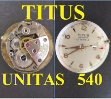 titus geneve unitas u 540 movimento movement manual old watch dial 19,8 vintage