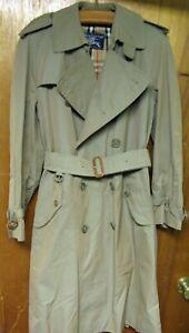 BURBERRYS' Dbl Brested Belted Trench Coat Nova Check Warm Wool Lining Sz 48 Reg