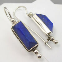 925 Pure Silver Real Lapis Lazuli Vintage Style Dangle Earrings Engagement Gift