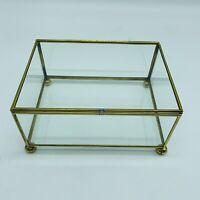 Glass and Brass Rectangular Footed Dresser Vanity Trinket Jewelry Box