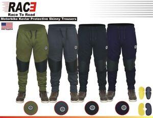 RAC3 Men Motorcycle Motorbike Skinny Slim Fit Trouser with Protection & Armor