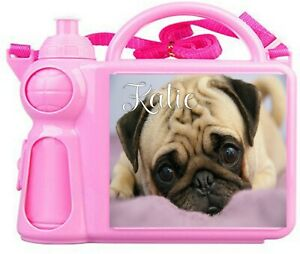 Personalised Pug Kids Lunch Box + Water Bottle Childrens Girls/Boys School
