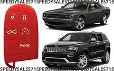 Red Rubber Smart Key Fob Remote Case Cover For Jeep Dodge Chrysler New USA