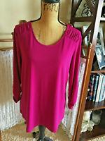 QVC Sz M Susan Graver Magenta Knit Shirt Top Poly Blend 3/4 Ruched Sleeves NWOT