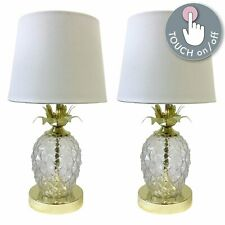 Pair of Gold Touch Table Light Bedside Lamps Pineapple Design White Shades