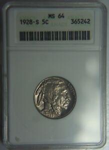 1928-S Buffalo Indian Head Nickel - ANACS MS64 - Older Small Holder!