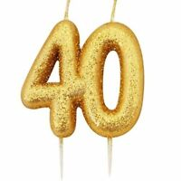 40th Candle Gold Birthday Anniversary Glitter Age Number Party Cake Topper Gift