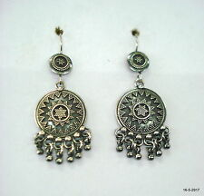 Traditional Design Sterling Silver Earrings Ethnic Handmade Earrings