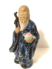 "Vintage Wanjiang China Mudman - Longevity Elder with Staff & Peaches Figurine 7"""