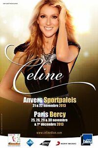 CELINE DION PARIS & ANTWERP 2013 CONCERT TOUR POSTER - Canadian Pop Music Diva!