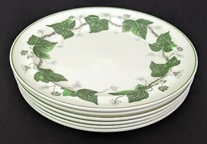 """Set of (6) Wedgwood ~ Napoleon Ivy ~ 10-1/2"""" DINNER Plates ~ Made in England"""
