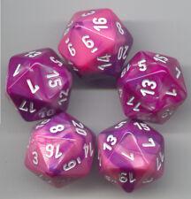 RPG Dice Set of 5 D20 - Chessex Gemini Pink-Purple
