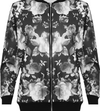 Plus Size Ladies Floral Rose Print Lightweight Summer Bomber Jacket Black White