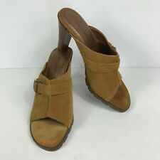 Bisou Bisou 7.5 Heels Suede Leather Shoes Sandals Womens Buckle Brown
