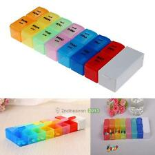 Detachable Pill Organizer Box 7 Day Medication Reminder with Splitter Cutter Kit