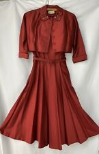 Vintage 1950s 2 Piece Red Dress Suit Jeanne Durrell Cropped Jacket Sequins Shiny