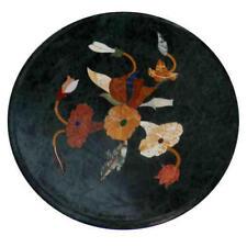 "12"" x 12"" Semi Precious Stones Black Marble Handcrafted Inlay Table Top"