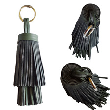 Tassel Bag Charm Keyring Chunky Black Khaki Thick Faux Leather Silver Ring Clasp
