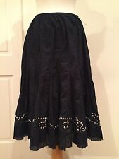 Ashley Stewart Long Gipsy Skirt Below Knee Flare 100% Cotton Black Size 18