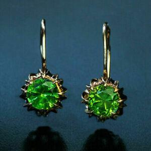 Vintage Russian Dangle Earrings 2.20Ct Cut Round Peridot 14k Rose Gold Finish
