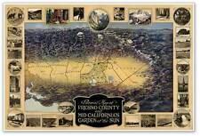 MAP of FRESNO & Mid California with Mariposa, Merced & Tulare circa 1919 24x36