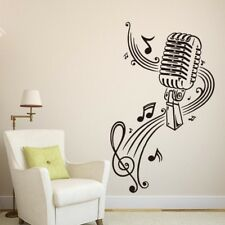 Music Notes Vinyl Microphone Wall Sticker Funny Home Decor Decal 2pcs Black NP2C