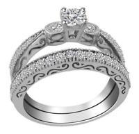 Designer Bridal Ring Set I1 G 1.15 Ct Round Cut Diamond 14K White Gold Appraisal