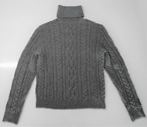 $1695 Ralph Lauren Purple Label Grey Chunky Cashmere Turtle Neck Sweater L Italy