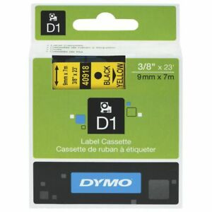 DYMO 1 Pack 40918  D1 LABELLING TAPE 9MM X 7M BLACK ON YELLOW S0720730