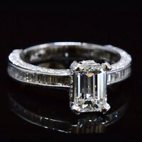 2.26 Ct Emerald Cut Diamond Engagement Ring Baguette & Round Accents F,VS2 GIA
