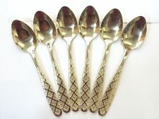 6 Pcs Golden Gold Designer Spoon Cutlery Table Spoon Polished Sleek And Stylish