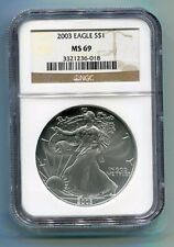 2003 AMERICAN SILVER EAGLE NGC MS69 BROWN LABEL PREMIUM QUALITY NICE COIN PQ