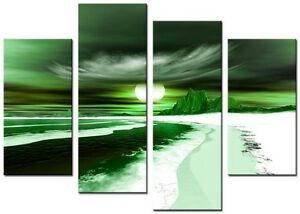BLADE Green Large wall art canvas print artwork framed home living room kitchen