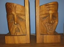 Joy & Pain (Comedy/Tragedy) Drama Masks Solid Wood Bookends - Rare Find