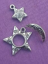 5 x 3 Pièces sets Silver Sun, Crescent Moon & Pentagram Star Charm Toggle Fermoirs