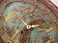 Vintage Key Wind Clock Wall Mantel Syroco Wood Decorative Asian Garden & Bridge
