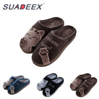 Mens Plush Slippers Indoor Winter Fur lined Warm Soft Anti-Slip House Shoes UK