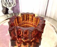 Aschenbecher Brockwitz Prismen Bernstein Gelb Art Déco Pressglas Ascher elegant