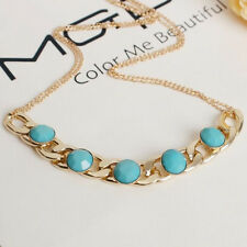 Elegant Women Jewelry Gold Choker Chunky Statement Sapphire Necklace Chain