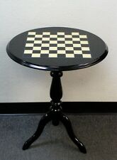 Round Inlaid Black and White Briarwood Lacquered Chess Table - TVA906R