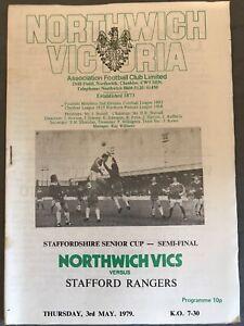 Northwich Victoria v Stafford Rangers(Staffordshire Senior Cup S/F 78/9) 3/5/79