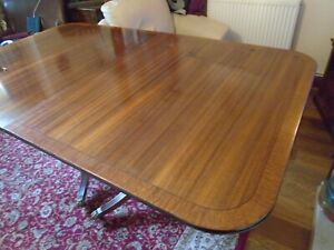LARGE ANTIQUE TWIN PEDESTAL MAHOGANY DINING TABLE SEATS 12