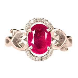 Oval Shape 1.96Ct Natural Burmese Red Ruby Solitaire Women's Ring In 925 Silver