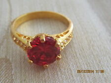 Yellow Gold Filled  Red Swar  Crystal  Ring - Size 7