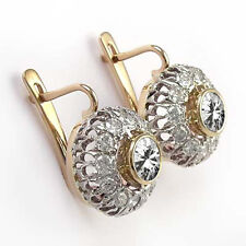 14k Solid Rose and White Gold Genuine Sapphire & Diamond Russian Earrings #E1286