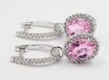 14k White Gold Pink Stone and Diamond Halo Hanging Ladies Earrings