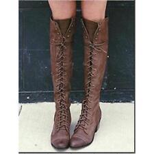 Women Lace up Knee High Rivet Boots Motorcycle Combat Riding Shoes Plus Size