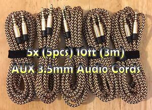 5x 5pcs 10ft (3M) GOLD Braided AUXILIARY 3.5mm Audio Cable Cords AUX Bundle LOT
